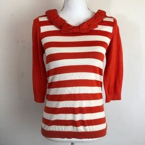 Kate Spade Striped 3/4 Sleeve Bow Neck Sweater M